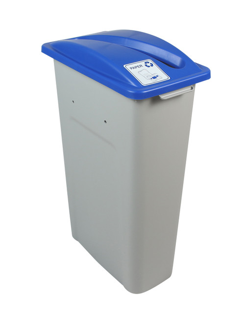 23 Gallon Skinny Simple Sort Recycle Bin (Paper, Blue Lid)
