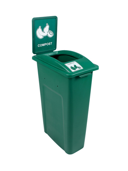 23 Gallon Skinny Simple Sort Compost Bin with Sign (Open Top, Compost)