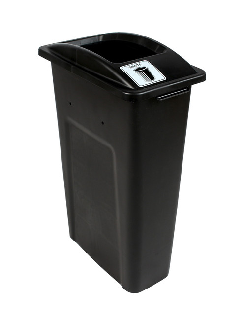 23 Gallon Black Skinny Simple Sort Waste Can (Waste, Open Top)
