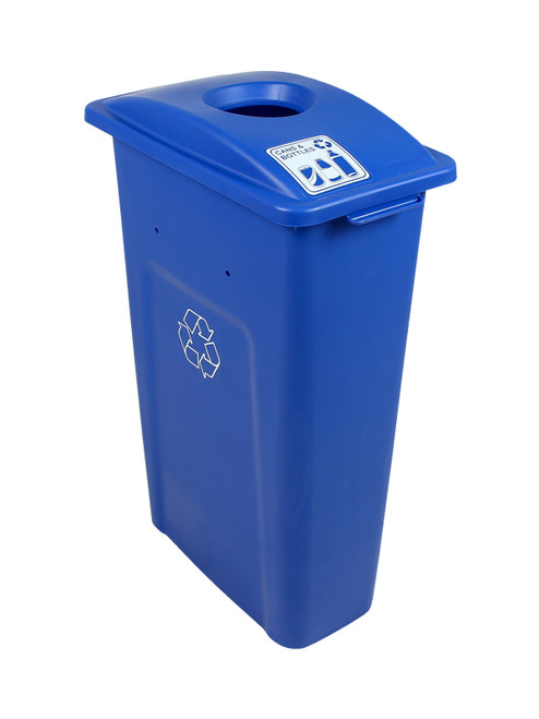 23 Gallon Blue Skinny Simple Sort Recycle Bin (Cans & Bottles)