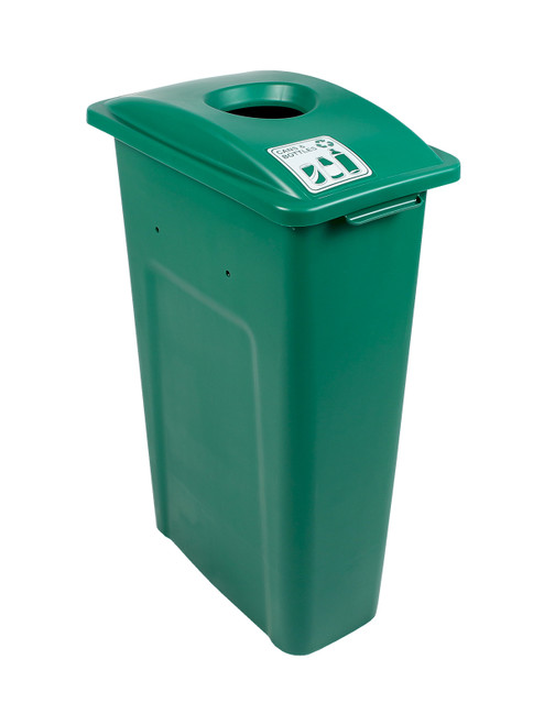 23 Gallon Green Skinny Simple Sort Recycle Bin (Cans & Bottles)