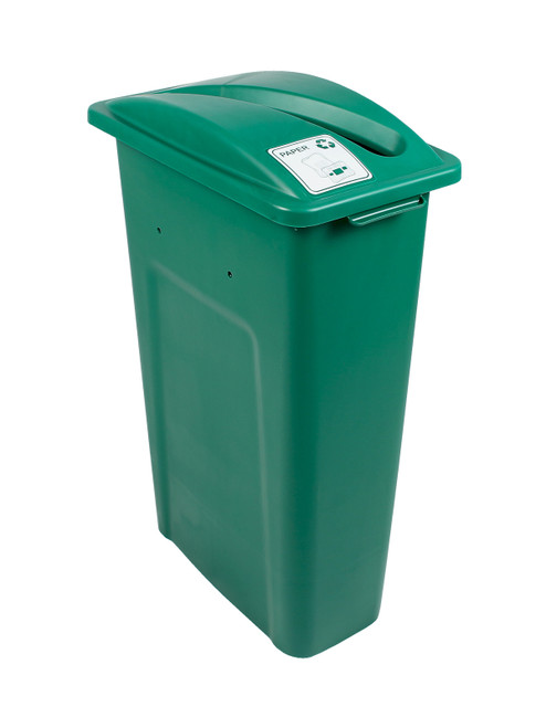 23 Gallon Green Skinny Simple Sort Recycle Bin (Paper)