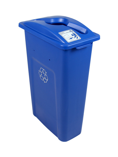 23 Gallon Blue Skinny Simple Sort Recycle Bin (Mixed Recyclables)