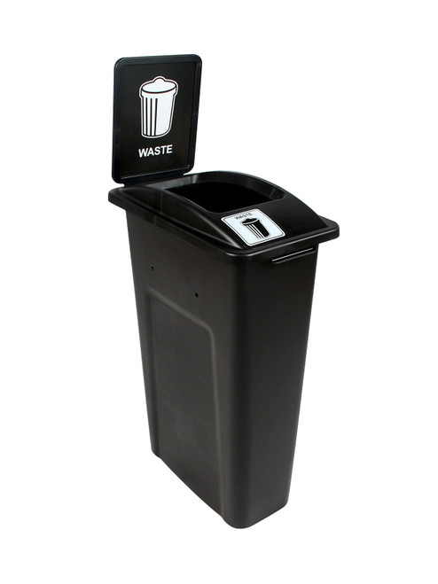 23 Gallon Black Skinny Simple Sort Waste Can with Sign (Waste, Open Top)