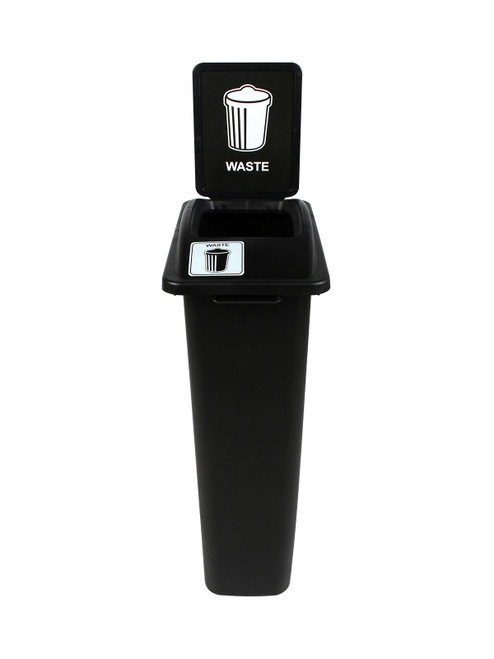 23 Gallon Black Skinny Simple Sort Waste Can with Sign Open Top