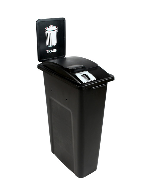 23 Gallon Black Skinny Simple Sort Trash Can with Sign (Trash, Lift Top)