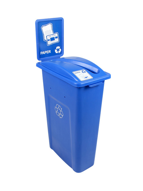 23 Gallon Blue Skinny Simple Sort Recycle Bin with Sign (Paper)