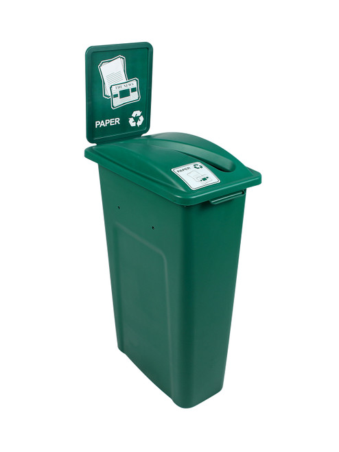 23 Gallon Green Skinny Simple Sort Recycle Bin with Sign (Paper)