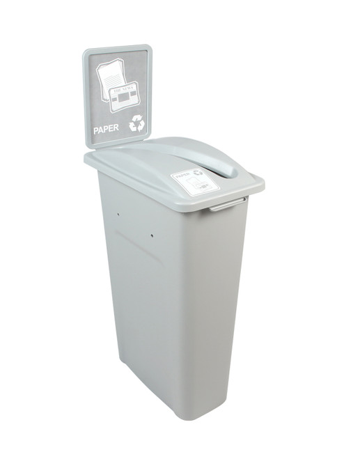 23 Gallon Gray Skinny Simple Sort Recycle Bin with Sign (Paper)
