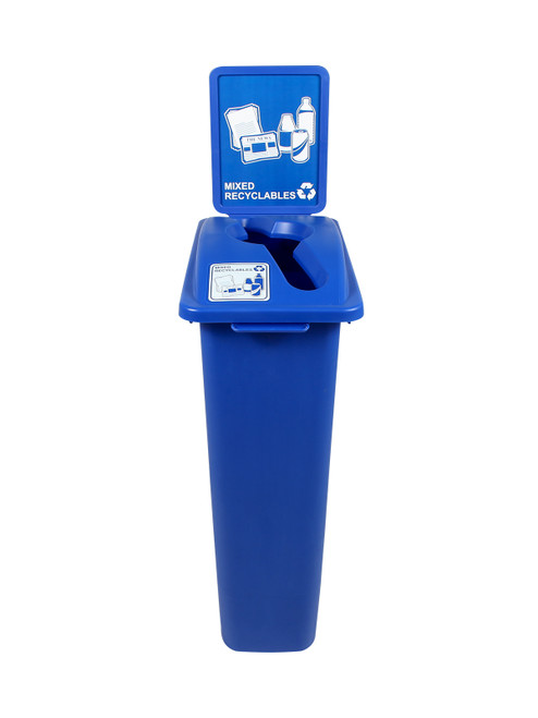 23 Gallon Blue Skinny Recycle Bin with Sign (Mixed Recyclables)