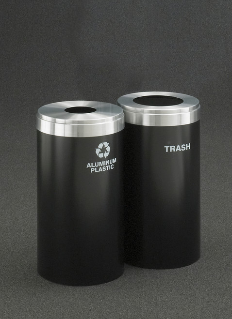 Dual Stream Connectable Metal Recycling Combo 15 Gallons Each Satin Black and Satin Aluminum