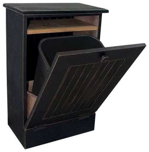 Small Kitchen Tilt Out Wood Trash Can with Shelf Handmade in Pine (BLACK SOLID)