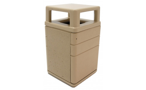 45 Gallon Square 4 Way Lid Outdoor Concrete Can with Steel Entry Door TF1050