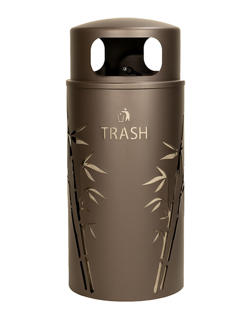 33 Gallon Nature Series Bronze Trash Can w/Anchor and Pole Kit (Bamboo Design)