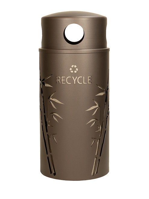 33 Gallon Nature Series Bronze Recycle Bin w/Anchor and Pole Kit (Bamboo Design)