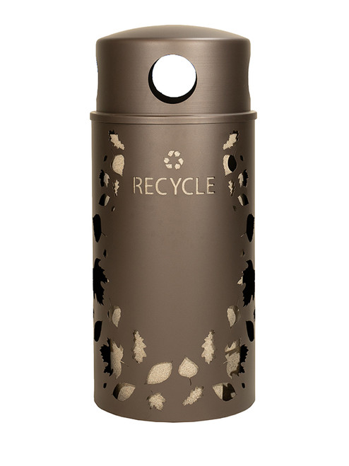 33 Gallon Nature Series Bronze Recycle Bin w/Anchor and Pole Kit (Leaves Design)