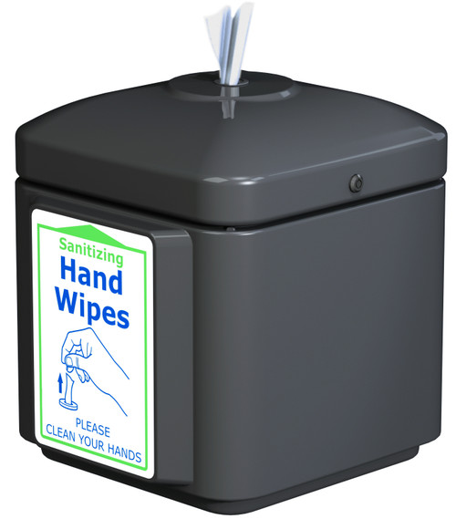 Sanitizing Wipe Dispenser Wall Mount 8003258 (BLACK, With 900 Wipes)