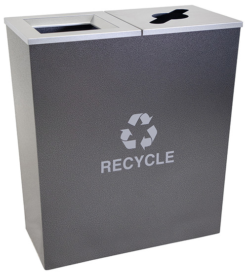 36 Gallon Hammered Charcoal Metro Collection Dual Recycling Receptacle RC-MTR-2-HCCL