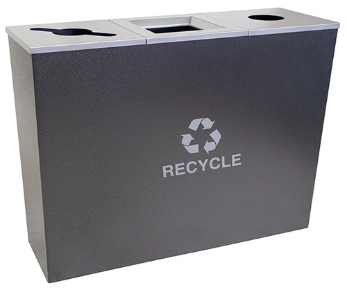 54 Gallon Hammered Charcoal Metro Collection Triple Recycling Receptacle RC-MTR-3 HCCL