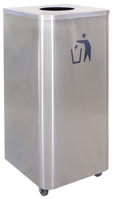 24 Gallon Stainless Steel Waste Receptacle with Wheels LDW-24 SS