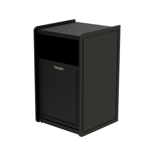 32 Gallon Single Side-Load Flat Top Trash Can Black Routed