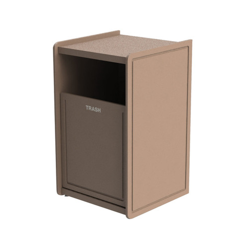 32 Gallon Single Side-Load Flat Top Trash Can Beige Routed
