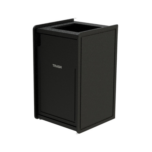 42 Gallon Single Top-Load Trash Can Routed  Black