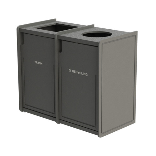 84 Gallon Dual Top-Load Trash Can 72TLFR42 Routed GRAY
