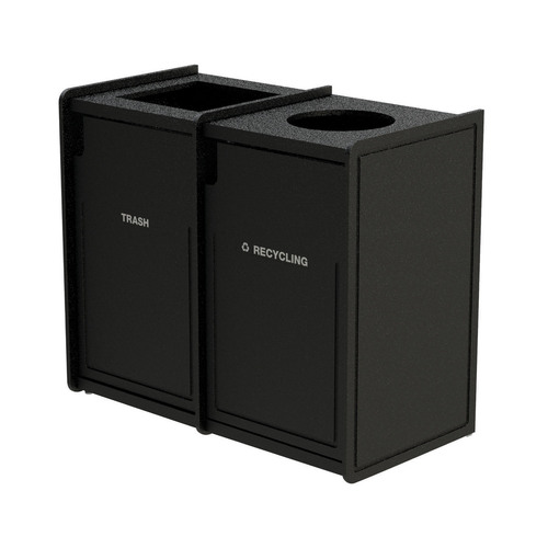 84 Gallon Dual Top-Load Trash Can 72TLFR42 Routed BLACK