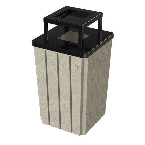 32 Gallon Heavy Duty Beige Granite Ash Trash Can with Liner S8295S-00-190