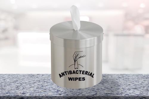Tabletop Disinfecting Wipe Dispenser Satin Aluminum with Logo C1015-S-SA