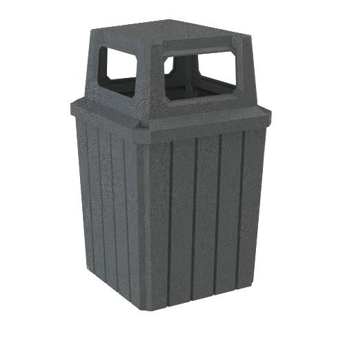 52 Gallon Kolor Can Square Heavy Duty Plastic Outdoor Trash Can S8301A-00 DARK GRANITE
