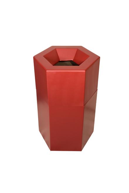 22 Gallon Fiberglass HEXAGON Decorative Trash Receptacle