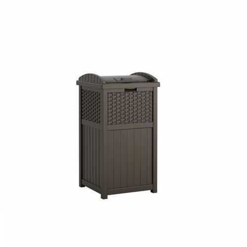 Wicker Java Trash Can for Deck or Patio Outdoor Garbage Can