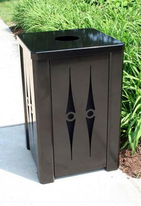 32 Gallon Outdoor Metal Trash Can Flat Top