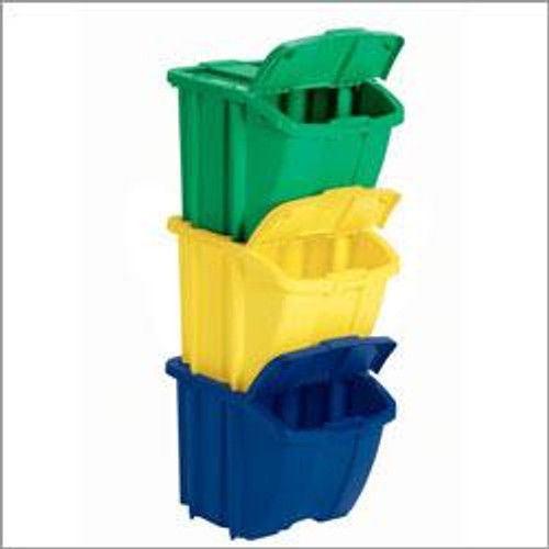 Stackable Recycling Bins 3 Pack 18 Gallons Each Color Coded