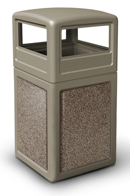 42 Gallon StoneTec Indoor Outdoor Stone Panel Trash Can with Dome Lid Beige with Riverstone