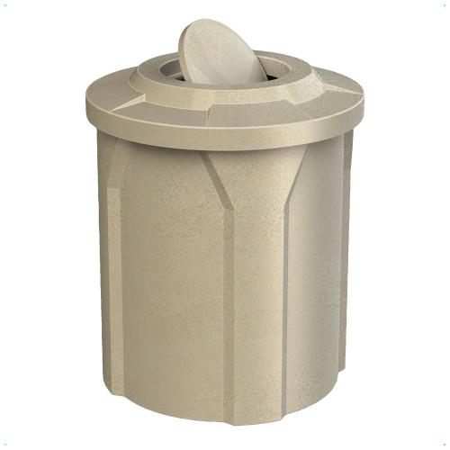 42 Gallon Swivel Top Bug Barrier Lid Park Trash Can S7102A-00 Beige Granite