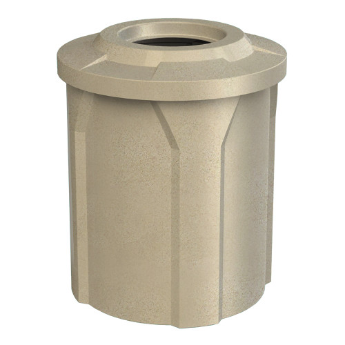42 Gallon Flat Top School Trash Receptacle with Liner S7102A-02 (3 Lid Styles, 11 Colors) BEIGE GRANITE