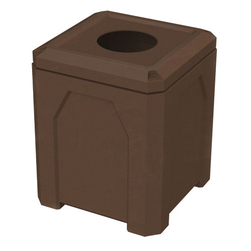 52 Gallon Kolor Can Square School and Park Trash Receptacle S7302A-01 BROWN GRANITE 10 INCH OPENING