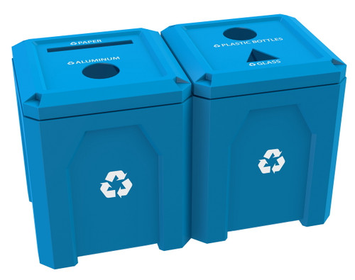 104 Gallon Kolor Can Dual Recycling Center S7302A-02 for Parks and Schools