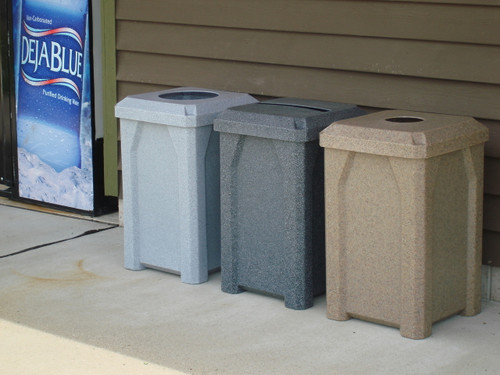 32 Gallon Kolor Can Indoor Outdoor Square Recycling Receptacle S7802A (11 Colors) (Light Granite, Dark Granite, Beige Granite)