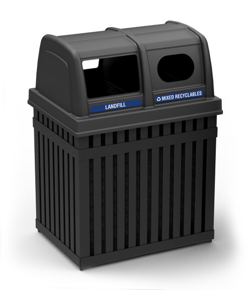 50 Gallon Parkview Double Outdoor Recycling Trash Can 72720199