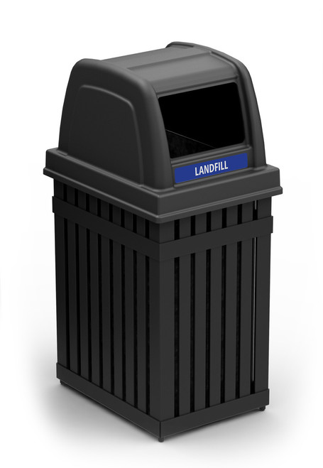 25 Gallon Parkview Single Outdoor Trash Can or Recycling Container Rectangle Opening for Landfill