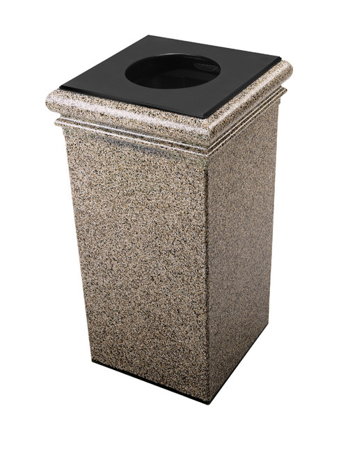 30 Gallon StoneTec Concrete Fiberglass Decorative Trash Can Riverstone