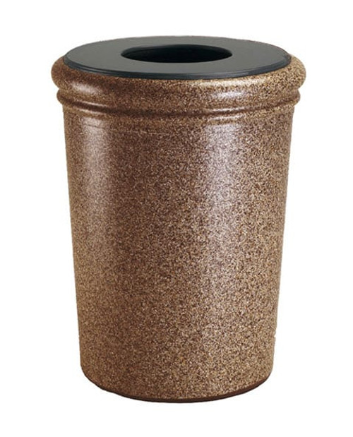 50 Gallon StoneTec Concrete Fiberglass Decorative Trash Can Sedona