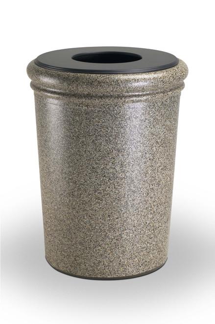 50 Gallon StoneTec Concrete Fiberglass Decorative Trash Can Riverstone