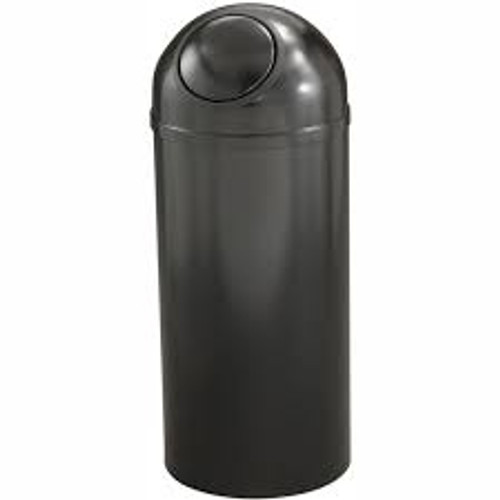 Mount Everest Dome Top Trash Can w/Plastic Liner Black with Matching Color Cover