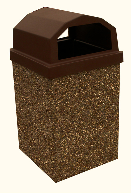 40 Gallon Dome Top Concrete Outdoor Garbage Can 40GRL (6 Finishes)