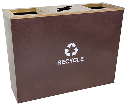 54 Gallon Three Stream Metro Collection Recycling Receptacle RC-MTR-3 HCPR